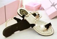 Free Shipping 2014 Angelababy rhinestone white pearl sandals rhinestone open toe flat sandals flats female shoes