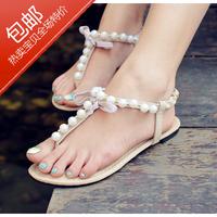 2013 open toe summer fresh pearl sandals rhinestone flat sandals flats shoes for women