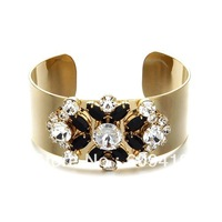 free shipping 2013 fashion gold chunky bracelet brand vintage hollywood luxurious crystal bracelet for women LM-SC489
