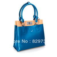 Free shipping Figg 2014 genuine leather bag for women candy color block japanned leather bags fashion messenger handbag