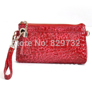 First layer of cowhide japanned leather day clutch genuine leather cross-body small bag stone pattern wallet 2014 female