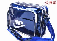 2014 Fashion Black Shoulder Handbag Bag Fashionable patent leather Man Casual Sports Messenger Bags, free shipping