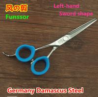 Fussor  professional hair cut scissors/shears MJ-55 left-hand flat cutting Germany Damascus sword  shape 5.5 inch top quality