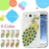 For Samsung Galaxy S3 i9300 Diamond Case Bling Luxury Peacock Clear Back Cover 3D Crystal Swarovski Rhinestones Handmade Design