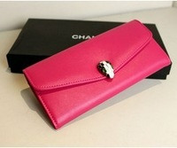 GENUINE LEATHER wallet for women 2013 Famous designer brand ladies wallet purse Real cowhide leather clutch bag Drop Shipping