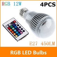 4pcs/lot 600LM RGB led lighting Colorful 12W B22 /E27/GU10 LED Bulb Lamp with Remote Control Free shipping