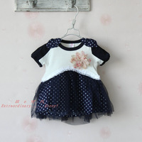 wholesale 2-5 years girl's dot chiffon dress with corsage(pink, blue), 2013 hot sale Korean style children's summer clothing