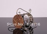 Free shipping! Wine Rack Retro flower rattan wine rack High-quality Wine holder/Metal Wine Rack, Made of Wrought Iron ,1Bottles