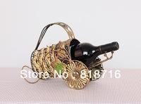 Wine holder/Metal Wine Rack Retro flower rattan wine rack High-quality , Made of Wrought Iron ,1Bottles