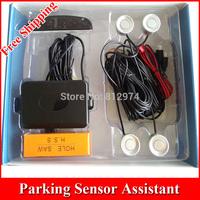 Free Shipping!! Factory sale, 12V Car LED Display Parking Reverse Backup Radar System 4pcs Sensors 6colors