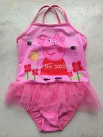 2014 New Peppa Pig Character girls pink tutu swimwear Swimmers one piece bathers swimsuit kids swimming wear