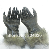scary latex wolf golve masquerade party supply mardi gras costume Halloween movie prop animal hands free shipping