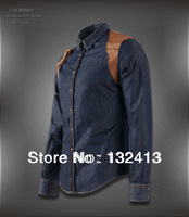 2014 New Fashion Mens Denim Jeans Cowboy Shirts Slim Brand spring Shirt size M-xxl Free Shipping 2005