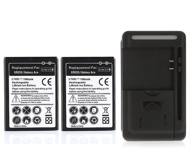 1500 мАч 2x аккумулятор + USB зарядное устройство для Samsung Galaxy Ace S5830 Gio S5670 S5660