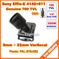 700TVLines 960H Sony Effio-E CCD 9-22mm varifocal lens OSD Menu Mini cctv camera . Free Shipping