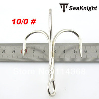 SeaKnight 10/0#  White Nickel Round Bend Ringed treble hooks super strong triple fishing hooks 10pcs/lot
