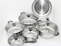 FREE SHIPPING 12pcs stainless steel cookware gift pot set milk pot soup pot frying pan set simple pots