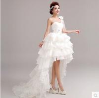 Sexy white Irregular Feather Wedding Dresses 2014 short Long Train off shoulder Bridal Princess Wedding Dress K5829