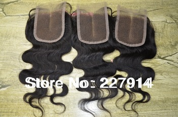 "Cheapest virgin peruvian hair top closures 3.5x4""swiss lace closure middle part bleached knots hair ,Free shipping"