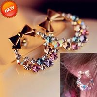 New Fashion Hot Cute Sweet Lovely Bowtie Garland Rhinestone Earring Ear Stud 001
