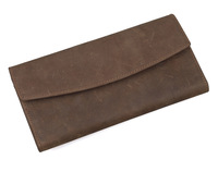 Mens long wallet brown leather purse with credit card holder trifold retro style  Best Gift for man Free shipping 4028