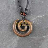 12pcs Free Shipping Indian Jewelry Bone Necklace Classic Unisex Style Pendant Spiral N0406