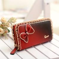 lady handbag wallet butterfly bow,wallet women long zipper,clutch wallets with a bow,designer money bags, card holder,806