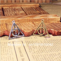 20pcs 32*32mm Vintage Silver Antique Bronze  Metal Harry Potter And Deathly Hallows Jewelry Charms Jewelry Findings