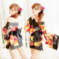 Free Shipping Japanese Kimono Sexy Lingerie,Black Flower Design Kimono Set,Japanese Kimono Lingerie Set (Dress+Belt+G-String)