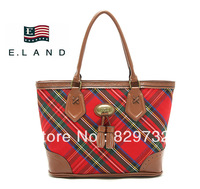 Free shipping 2013 new fashion plaid canvas shoulder bag handbag