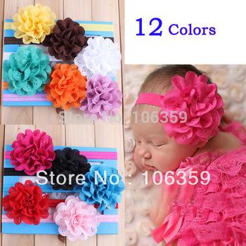 Mesh Flower Baby Girls Elastic Headband Kids Head Accessories Hairband Princess Hair Band 20pcs HYS04