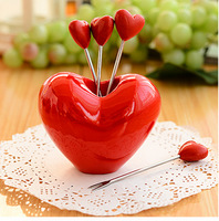2014 NEW fashion  home love fruit fork heart cutlery red fruit fork  free shipping wholesale  5 fork +1 heart fruit plate