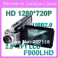 Top Selling HD 1280*720P 30fps Car DVR Recorder F900LHD With 2.5'' LCD(4:3) USB2.0 Night Vision Motion Detection No Retail Box