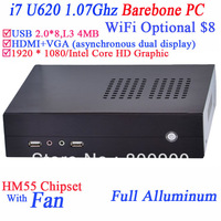 Barebone small server i7 desktop computer with 8* usb ports HDMI VGA 12V DC intel dual core i7 U 620 1.07Ghz 4MB Three Cache