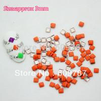 Free Shipping 2000pcs/lot 3mm Fluorescent Orange Color Square 3d metal nail studs nail decorations