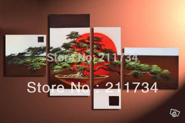 Al 100% a mano promozione fatta pino sole rosso alta q. Paesaggio astratto decorazione della parete pittura a olio su tela 4pcs/set incorniciato