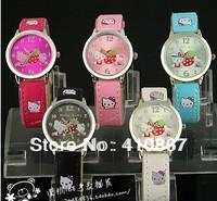 5Colors Hello Kitty Cartoon Leather Watches Fashion Ladies Women's Girls Quartz Wrist Watches Free Shipping20pcs/lot