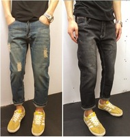 summer men's denim pantyhose hole jeans men Korean fashion style