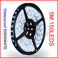 ( 60 reel/lot ) 5M/Reel 5050 12V 150 LEDs 30 LEDs/M White Color SMD Waterproof Flexible LED Strip Lights Wholesale