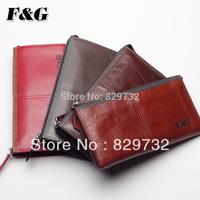 Free shipping F&G 2014 new wallet genuine leather long design male zipper clutch men's soft cowhide wallet