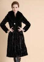 2013 Fashion Real Mink Fur Coat with Fox Collar Plus Size Mink Fur Coat women Ladies' winter coat  Fur TOP ems free shipping