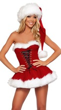 ML8010 Sexy Sweetheart Miss Santa Dress Sexy Adult Women Christmas Costume(China (Mainland))