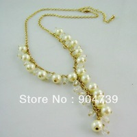 2013 New Coming Fashion Princess Aulic Simulated Bead Chain Necklace Free shipping