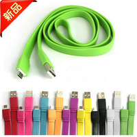 High Speed Phone Sync Data Charging USB Micro Cable General Flat Big Noodle Sync Charge Colorful Data USB Cable for Mobie phone