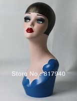 High quality Fiberglass vintage female mannequin dummy head bust for earrings &wigs& hat & jewelry display
