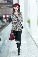 Fashion 2014 New women clothing  Korean Lace Shirt Color:Black/White Plus Size XL XXL XXXL XXXXL Fat mm  Beautifull Lady Blouses