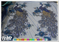 blue sequin paillette peacock lace fabric embroidery net placements fabric 50cm*135cm