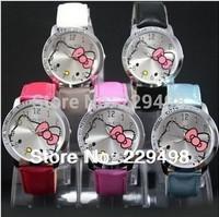 Free Shipping, 5 Pcs/lot 2014 New Hello Kitty Children Gift,Girl's Quartz Wrist Watch, Fashion Gift Watch,Girls Dress Watch
