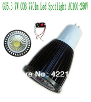 10pcs/lot  Black Aluminum shell (COB71) GU5.3 COB 7W 770lm Aluminum Led spot light AC100-250V