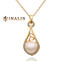 Free Shipping 2014 New Arrival 18K Gold Plated White Pearl Pendent Necklace, 18K Gold Plated Necklace, Rhinestone SWA Elements